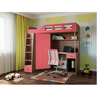 Кровать-чердак Астра 7 Дуб шамони - Розовый