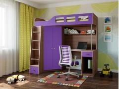 Кровать-чердак Астра 7 Дуб шамони - Фиолетовый