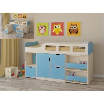 Детская кровать-чердак Астра 8 Дуб молочный - Голубой