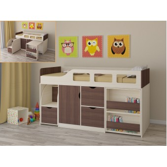 Детская кровать-чердак Астра 8 Дуб молочный - Дуб шамони