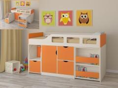 Кровать-чердак Астра 8 Дуб молочный - Оранжевый