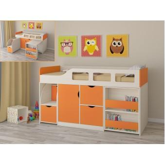 Детская кровать-чердак Астра 8 Дуб молочный - Оранжевый