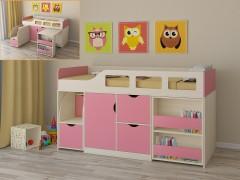 Кровать-чердак Астра 8 Дуб молочный - Розовый