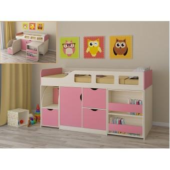 Детская кровать-чердак Астра 8 Дуб молочный - Розовый