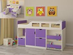 Кровать-чердак Астра 8 Дуб молочный - Фиолетовый
