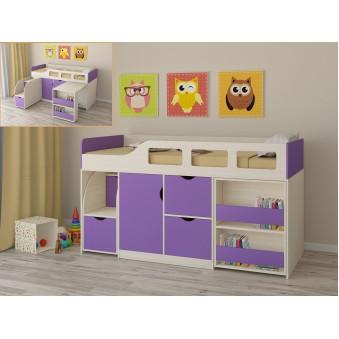 Детская кровать-чердак Астра 8 Дуб молочный - Фиолетовый