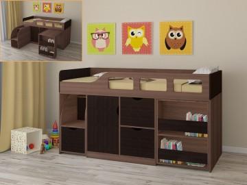 Детская кровать-чердак Астра 8 Дуб шамони - Венге
