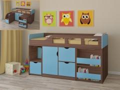 Кровать-чердак Астра 8 Дуб шамони - Голубой