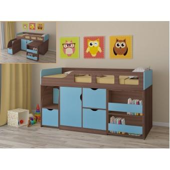 Детская кровать-чердак Астра 8 Дуб шамони - Голубой