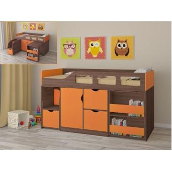 Детская кровать-чердак Астра 8 Дуб шамони - Оранжевый