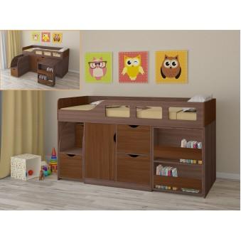 Детская кровать-чердак Астра 8 Дуб шамони - Орех