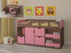 Кровать-чердак Астра 8 Дуб шамони - Розовый