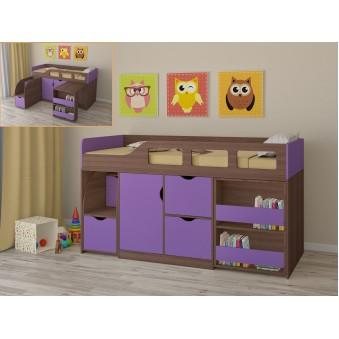 Детская кровать-чердак Астра 8 Дуб шамони - Фиолетовый