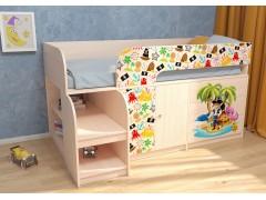 Кровать-чердак Астра 9 V1 Дуб молочный Пират