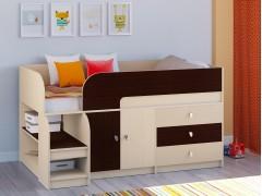 Кровать-чердак Астра 9 V1 Дуб молочный - Венге