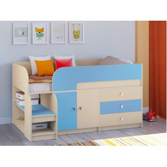 Детская кровать-чердак Астра 9 V1 Дуб молочный - Голубой