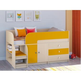 Детская кровать-чердак Астра 9 V1 Дуб молочный - Оранжевый