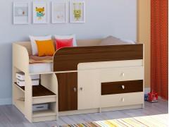 Кровать-чердак Астра 9 V1 Дуб молочный - Орех