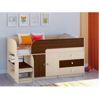 Детская кровать-чердак Астра 9 V1 Дуб молочный - Орех