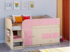 Кровать-чердак Астра 9 V1 Дуб молочный - Розовый