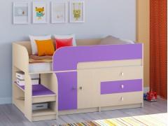 Кровать-чердак Астра 9 V1 Дуб молочный - Фиолетовый