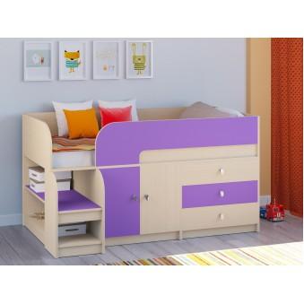 Детская кровать-чердак Астра 9 V1 Дуб молочный - Фиолетовый
