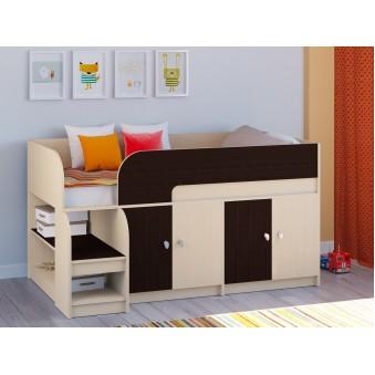 Детская кровать-чердак Астра 9 V2 Дуб молочный - Венге