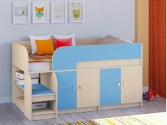 Кровать-чердак Астра 9 V2 Дуб молочный - Голубой