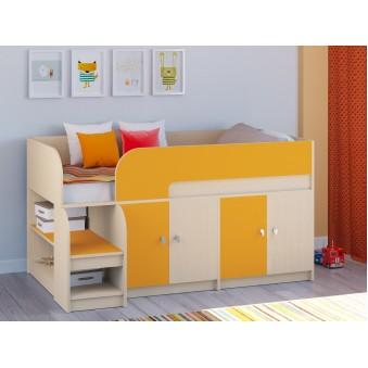 Детская кровать-чердак Астра 9 V2 Дуб молочный - Оранжевый