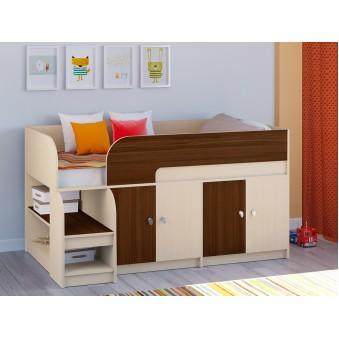 Детская кровать-чердак Астра 9 V2 Дуб молочный - Орех