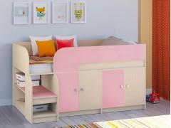 Кровать-чердак Астра 9 V2 Дуб молочный - Розовый