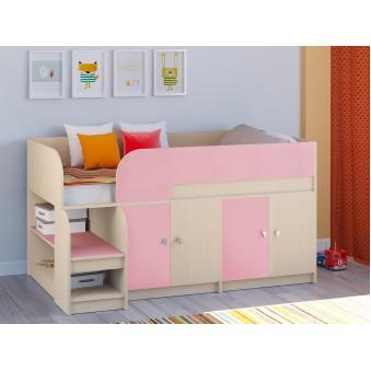 Детская кровать-чердак Астра 9 V2 Дуб молочный - Розовый