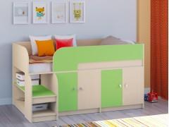 Кровать-чердак Астра 9 V2 Дуб молочный - Салатовый
