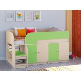 Детская кровать-чердак Астра 9 V2 Дуб молочный - Салатовый