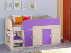 Кровать-чердак Астра 9 V2 Дуб молочный - Фиолетовый