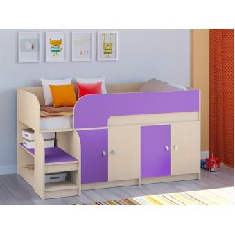 Детская кровать-чердак Астра 9 V2 Дуб молочный - Фиолетовый