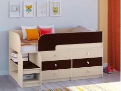 Кровать-чердак Астра 9 V3 Дуб молочный - Венге