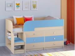 Кровать-чердак Астра 9 V3 Дуб молочный - Голубой