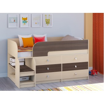 Детская кровать-чердак Астра 9 V3 Дуб молочный - Дуб шамони