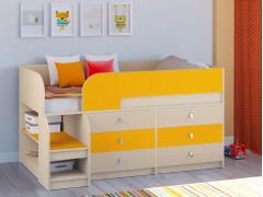 Кровать-чердак Астра 9 V3 Дуб молочный - Оранжевый