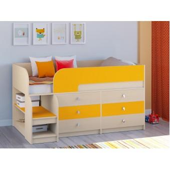 Детская кровать-чердак Астра 9 V3 Дуб молочный - Оранжевый