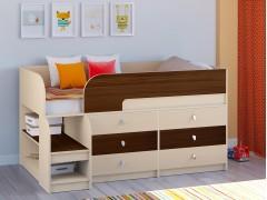 Кровать-чердак Астра 9 V3 Дуб молочный - Орех