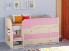 Кровать-чердак Астра 9 V3 Дуб молочный - Розовый