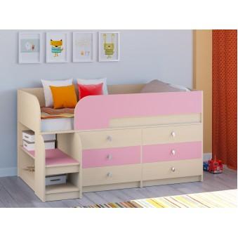 Детская кровать-чердак Астра 9 V3 Дуб молочный - Розовый