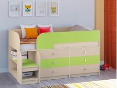 Кровать-чердак Астра 9 V3 Дуб молочный - Салатовый
