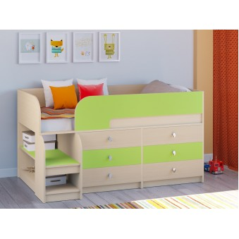 Детская кровать-чердак Астра 9 V3 Дуб молочный - Салатовый