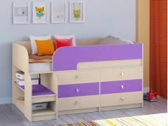 Кровать-чердак Астра 9 V3 Дуб молочный - Фиолетовый