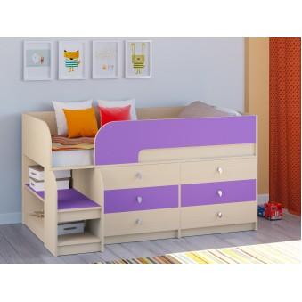 Детская кровать-чердак Астра 9 V3 Дуб молочный - Фиолетовый
