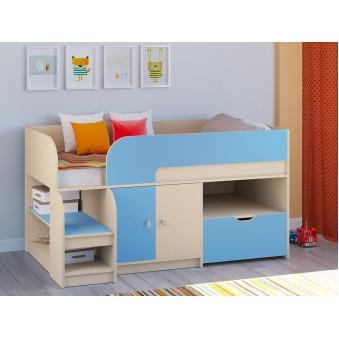 Детская кровать-чердак Астра 9 V4 Дуб молочный - Голубой