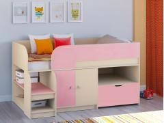 Кровать-чердак Астра 9 V4 Дуб молочный - Розовый